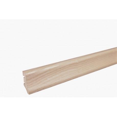 Плинтус напольный Ясень, белый матовый лак, 40х20х2200 мм