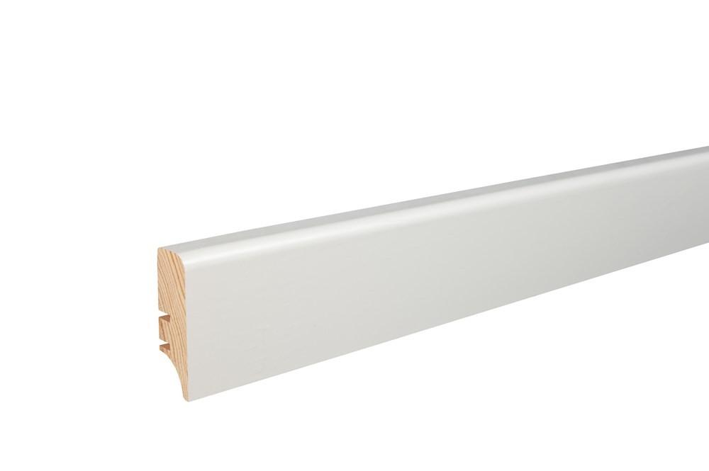 Плинтус напольный белый крашенный, 46х16х2200 мм