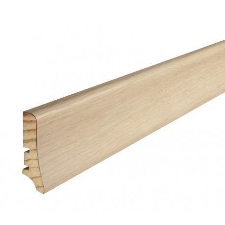Плінтус напольний Дуб, білий матовий лак, 58х20х2200 мм