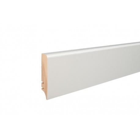 Плинтус напольный окрашенный белой пленкой, 60х16х2200 мм
