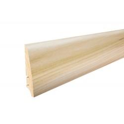 Плінтус підлоговий Ясень, білий матовий лак,  78х18х2200 мм