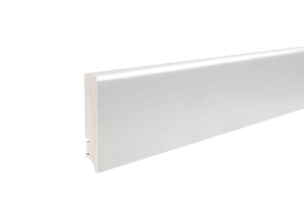 Плінтус напольний білий, лак 95х16х2200 мм