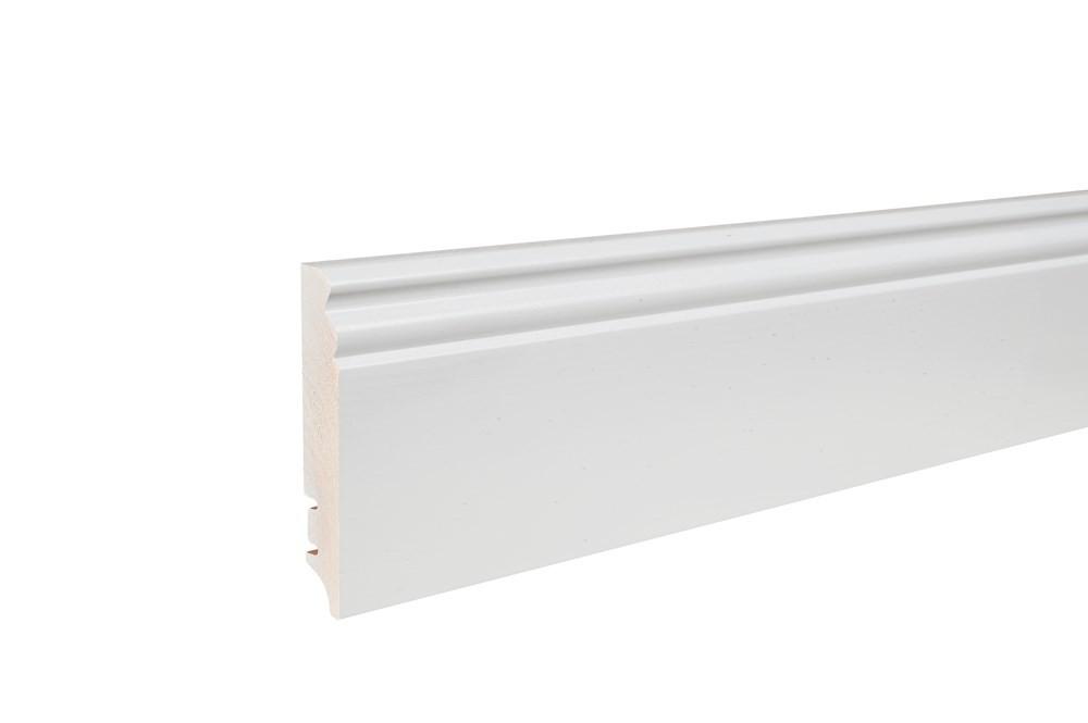 Плинтус напольный фигурный, белый лак, 95х16х2200 мм
